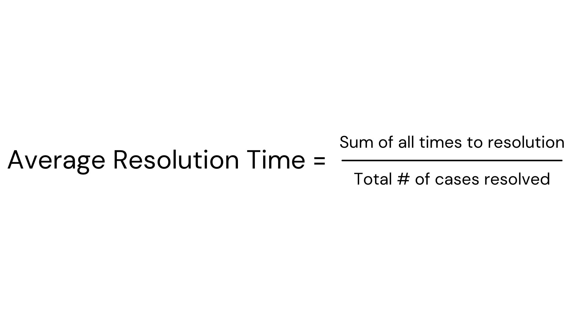 Average Resolution Time formula