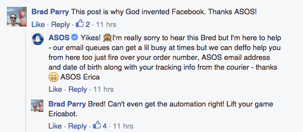 User comments on ASOS Facebook page