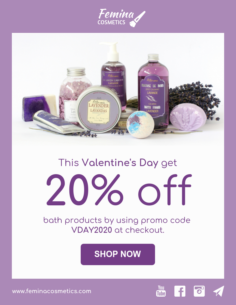 Cosmetics Brand Valentine's Day Email Newsletter_Venngage