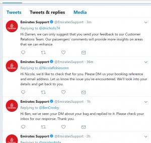 Emirates Twitter handle
