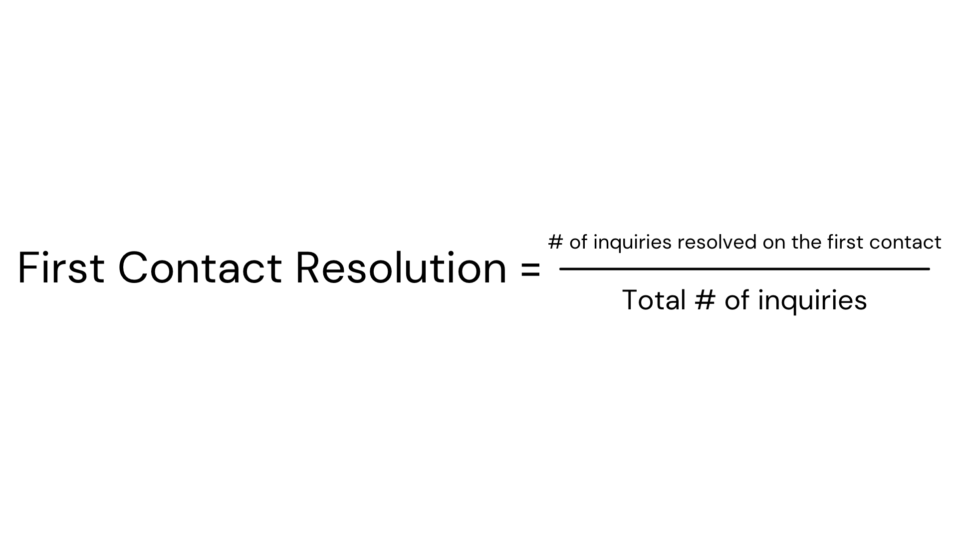 First Contact Resolution Formula