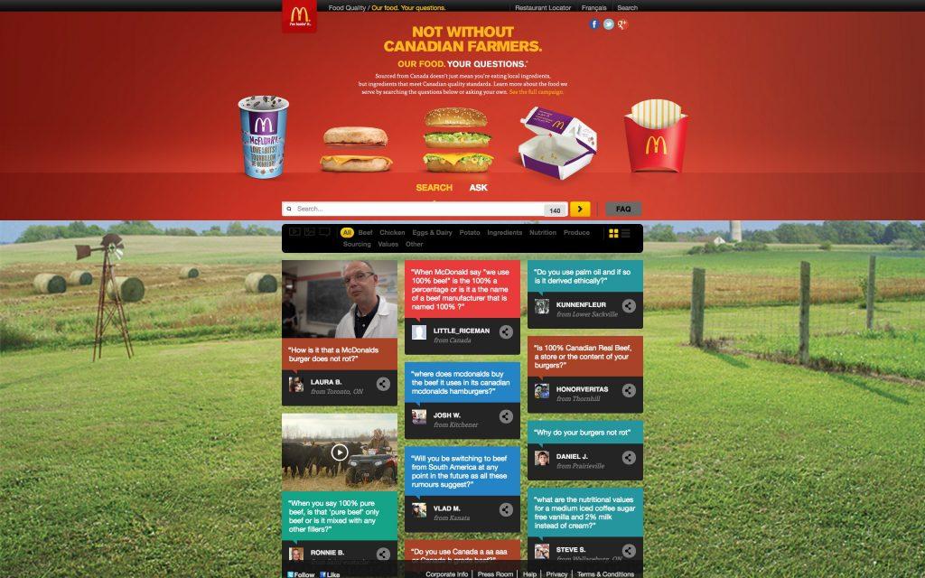 Screenshot of McDonalds' Canadian website