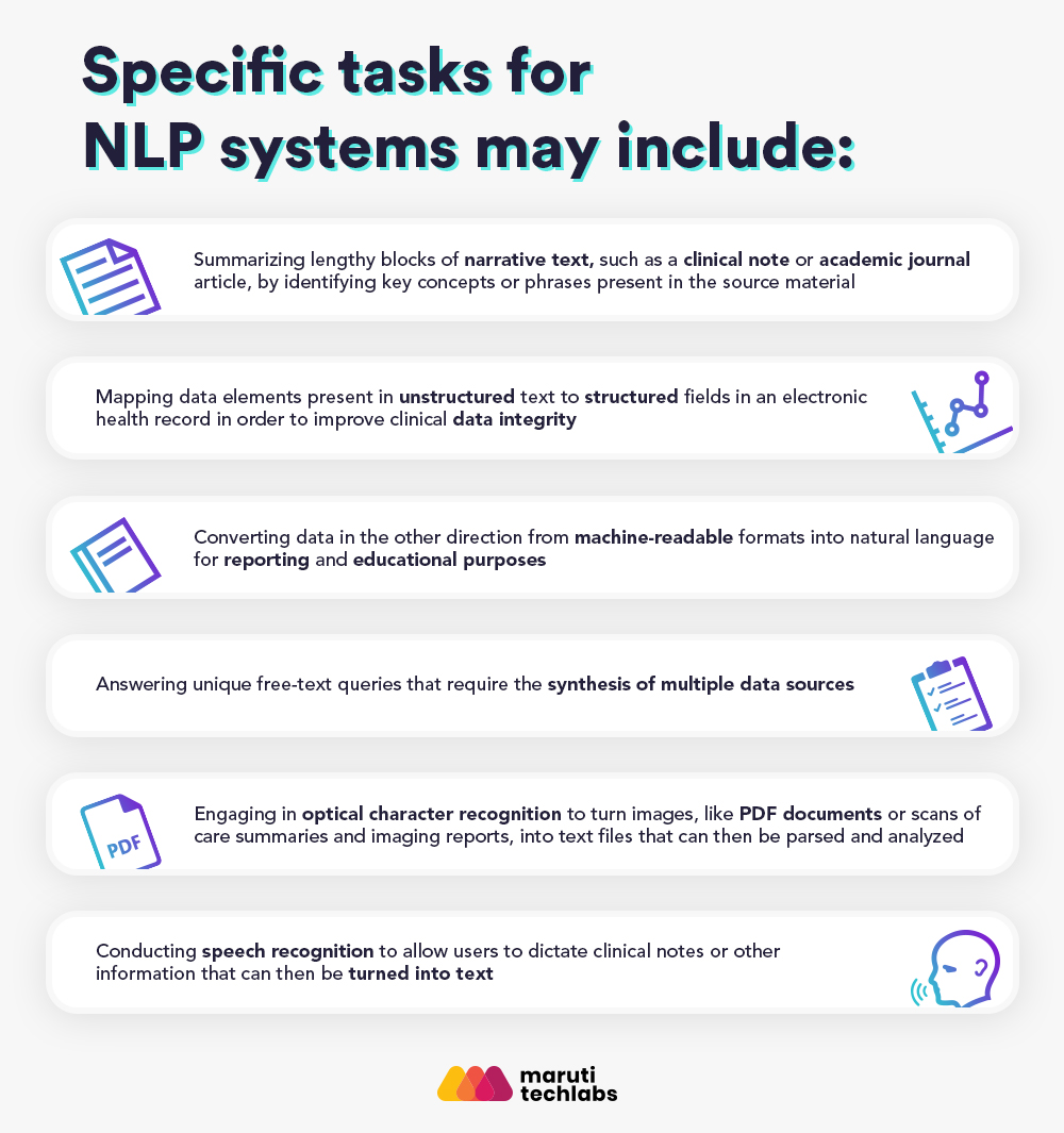 Specific tasks for NLP systems
