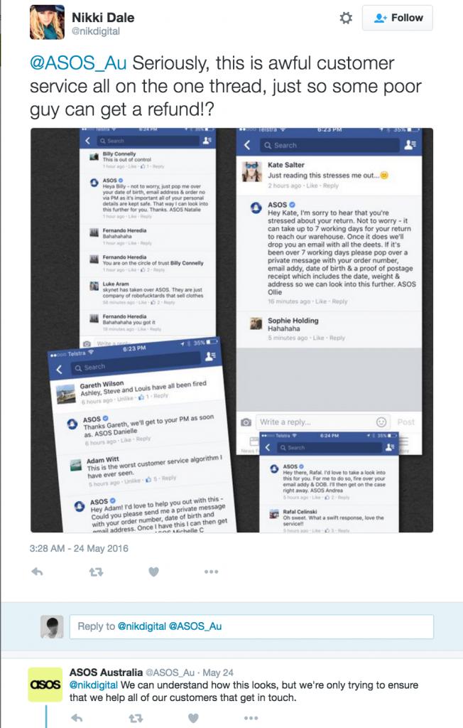 Nikki Dale's reply tweet to ASOS