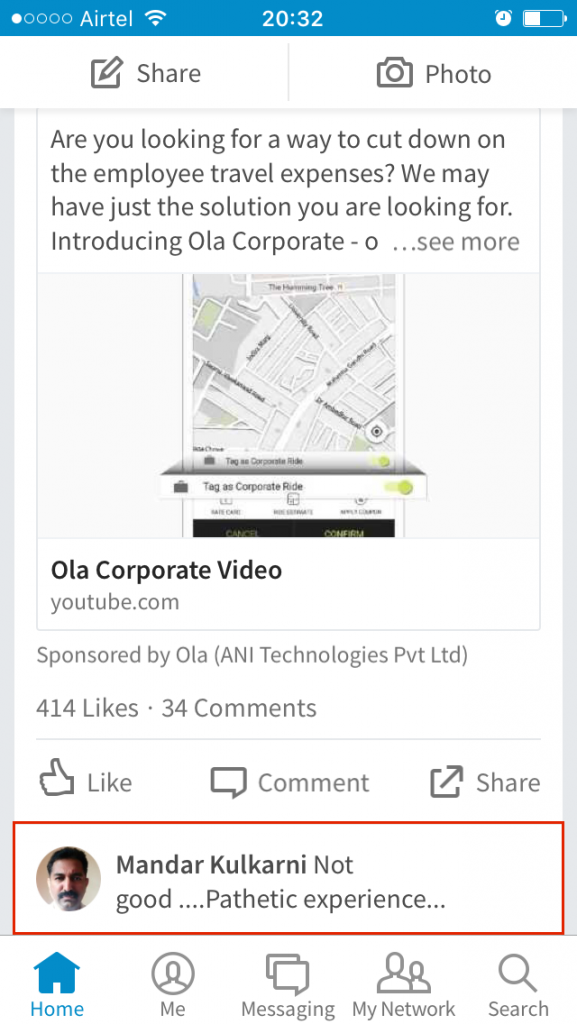 Ola Corporate LinkedIn Ad