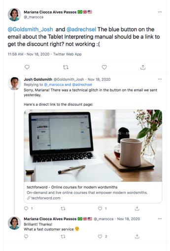 Response to customer in Twitter