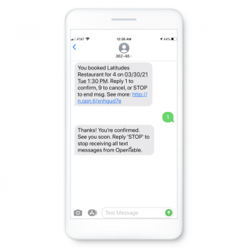 Use SMS to keep customer informed of upcoming bookings or appointments