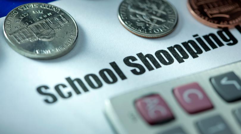 school shopping calculator and change