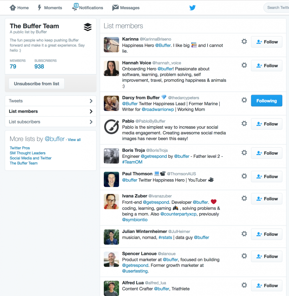 Buffer Twitter List by Mindi Rosser