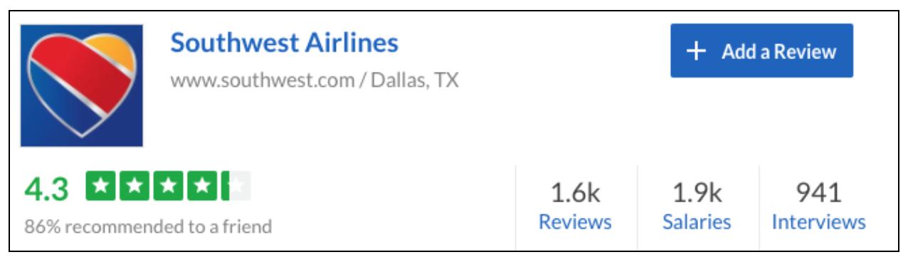 Southwest Airlines Glassdoor Ratings
