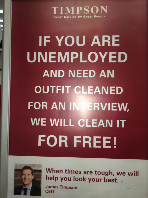 Timpson Free Outfit Cleaning