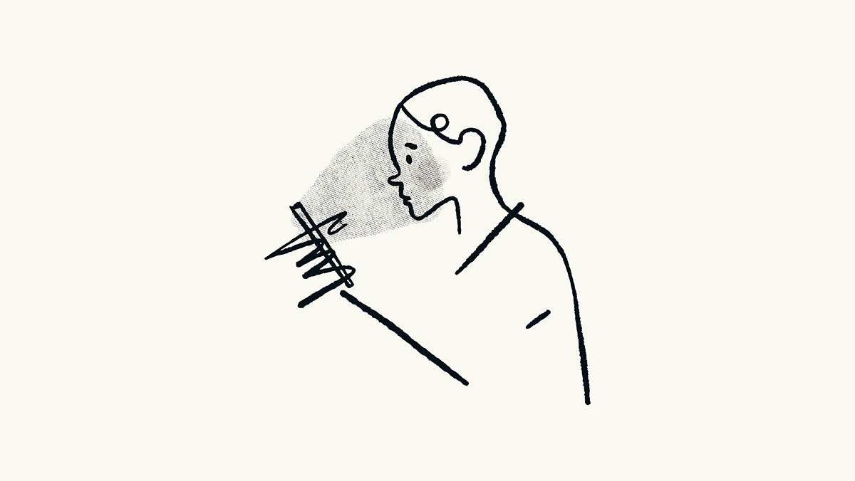 Lind drawing of man on mobile phone