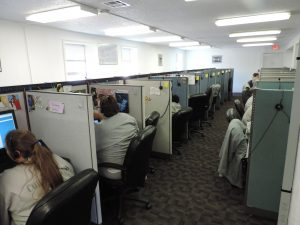Correctional facility call center agents working