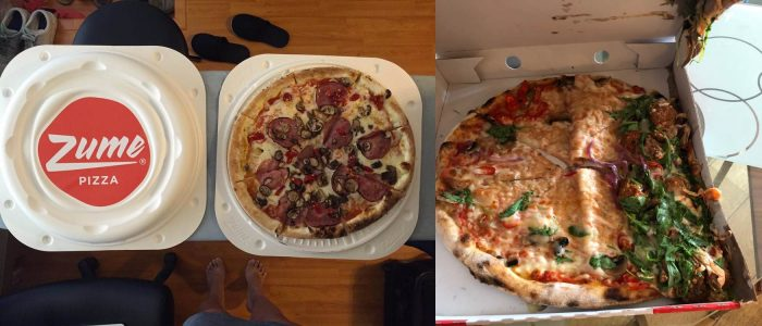 Delivery performance of the Zume pizza box compared to traditional pizza box