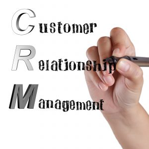 Acronym of CRM Customer Relationship Management by hand drawing