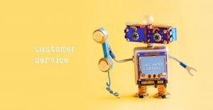 Customer service call center operator concept. Friendly robot assistant with retro styled phone on yellow background