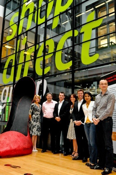 The Shop Direct Board of Directors with the stiletto shoe at the launch of 'Feet in the Street' in 2010