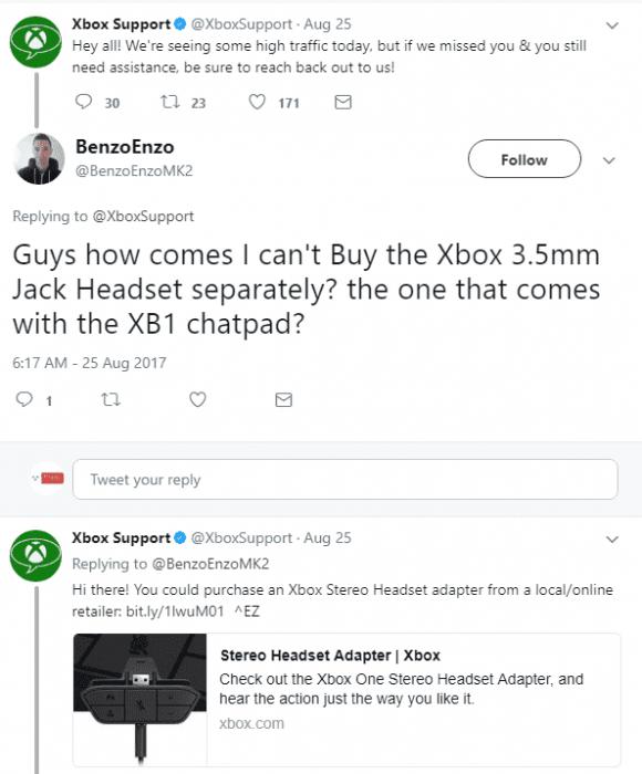 xbox support tweet