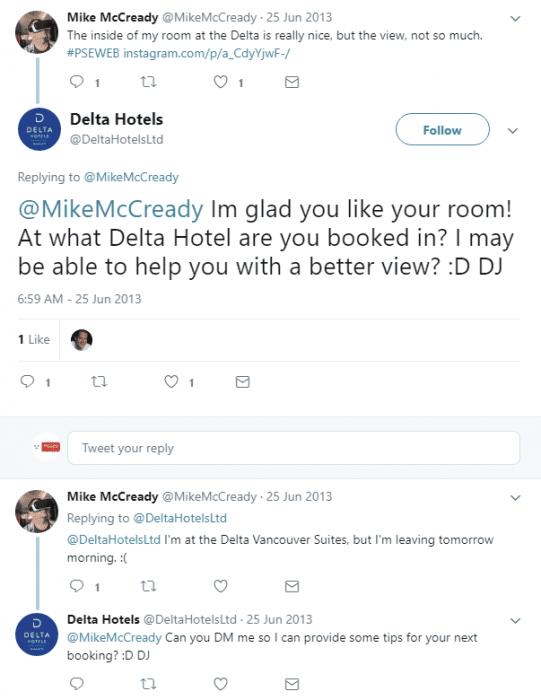 Delta Hotels tweet comment