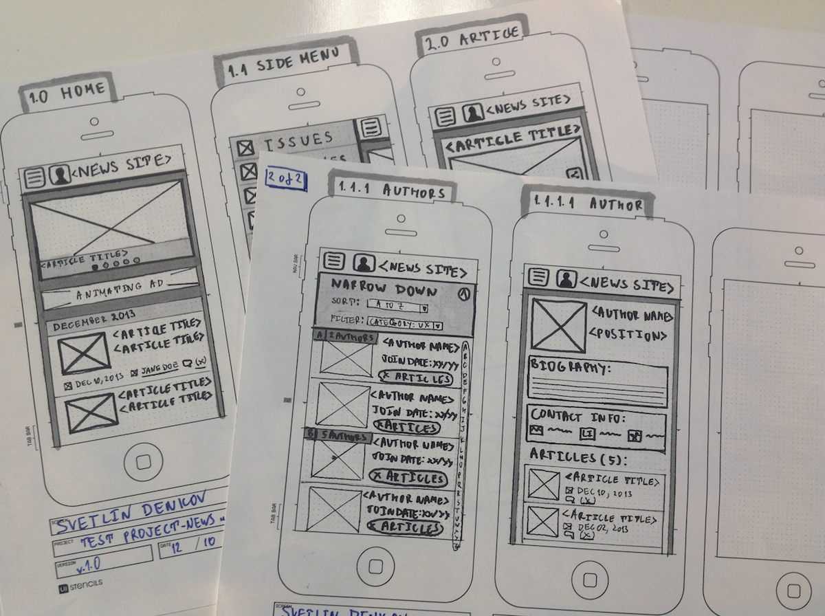 mobile app design wireframes