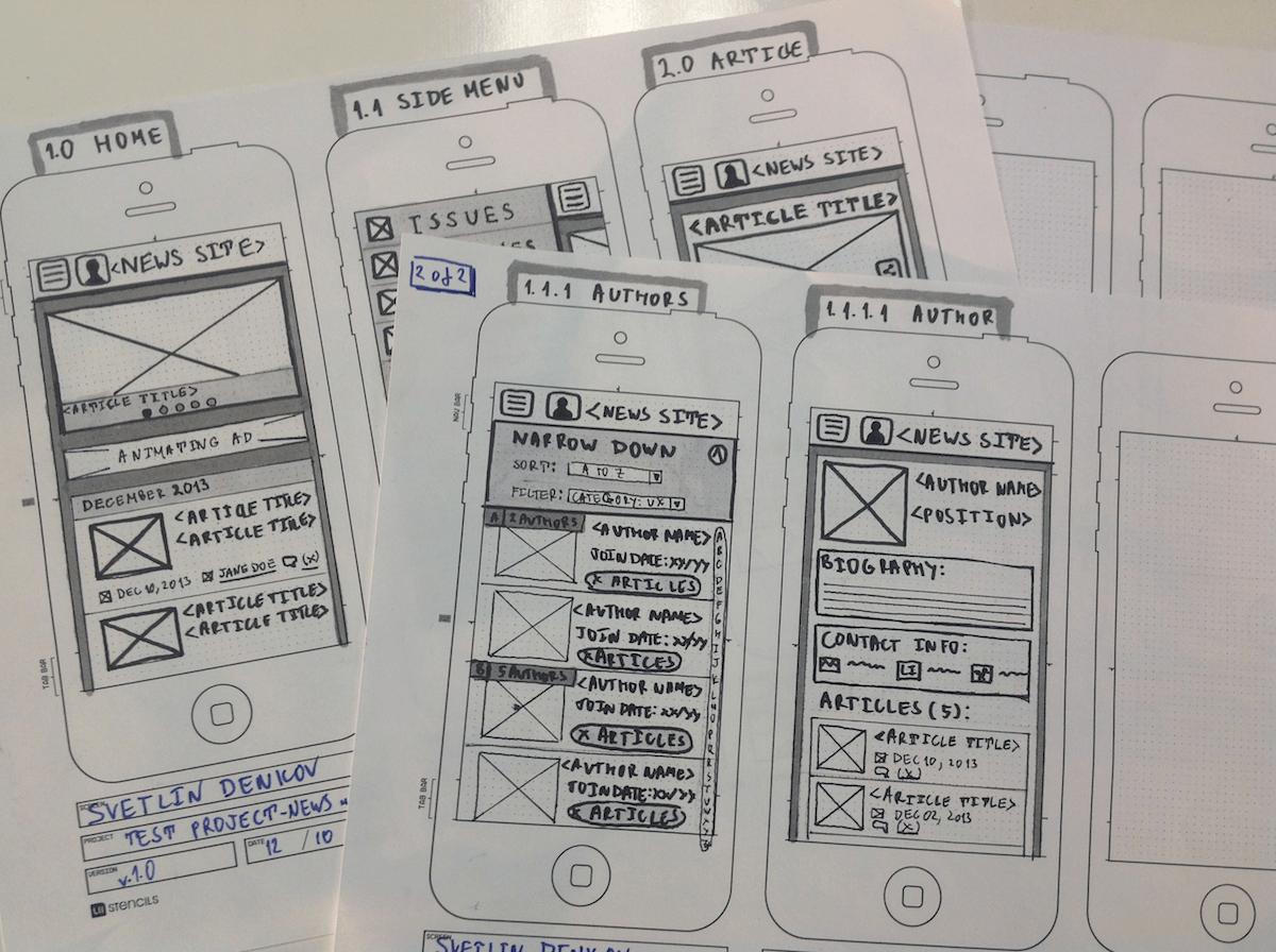 mobile app design wireframes