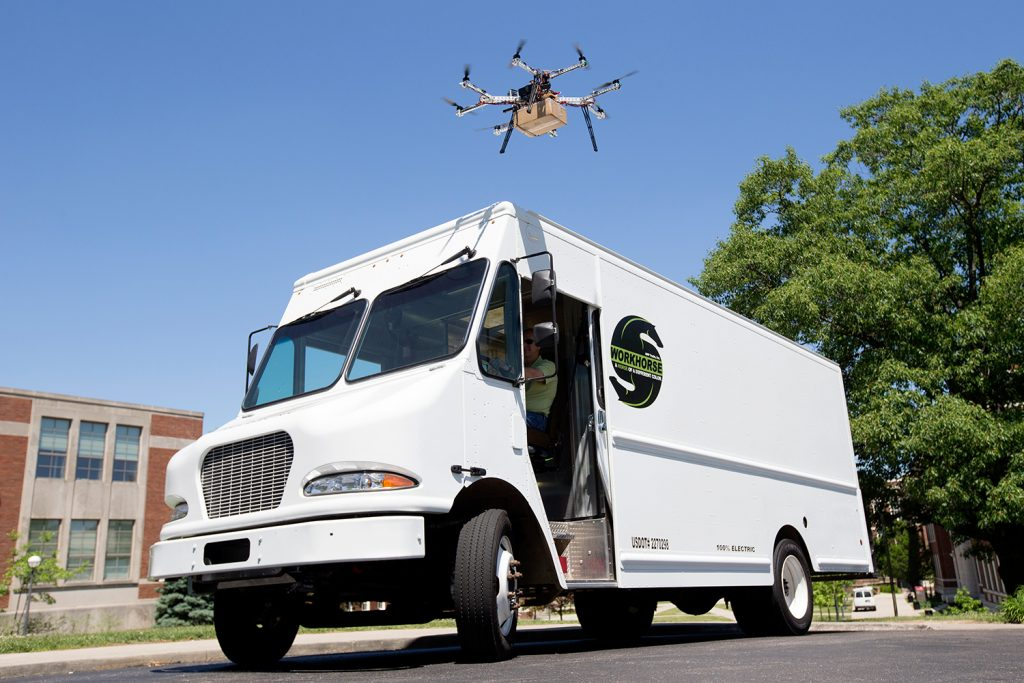 "UC collaborates with AMP Electric Vehicles to create the ultimate unmanned aerial vehicle for safely delivering goods called HorseFly ""octocopter"" through an innovative partnership made possible by the University of Cincinnati Research Institute ."